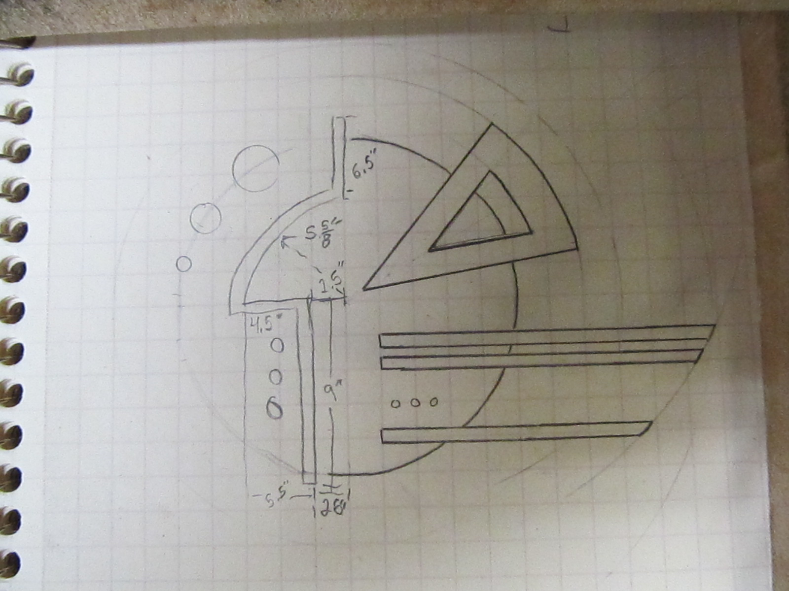 The preliminary sketch of the art deco wall hanging