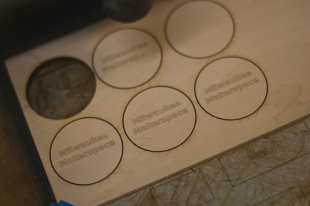 Laser cutting wooden nickels