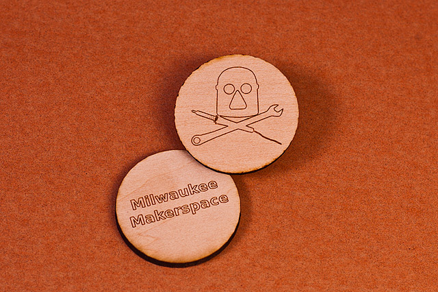 Laser-cut wooden nickels