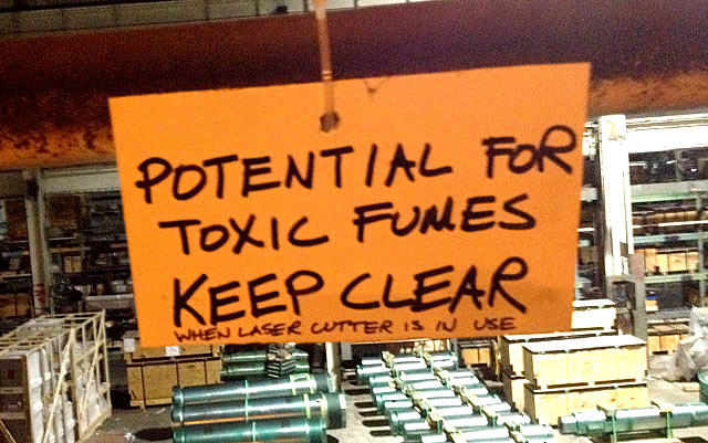 Potential for Toxic Fumes - Keep Clear!