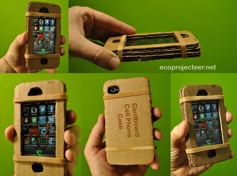 cardboard cell phone case montage