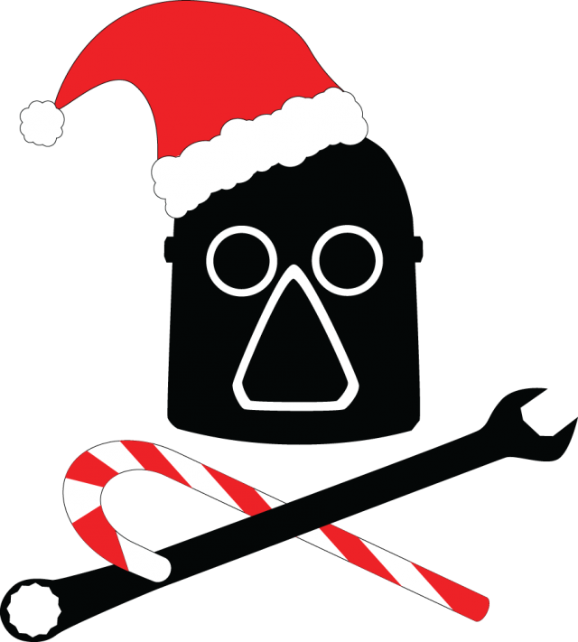 Our traditional logo of an old timey welder's mask, but with a santa hat and a candy cane in place of the soldering iron.