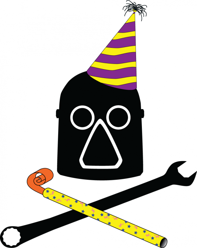 Our logo, an old-time welder's mask with crossed soldering iron and wrench, dressed up with a party hat and noisemaker
