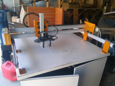 The CNC Mogul with router mounted and ready to cut.