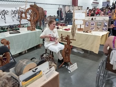 Karen with her spinning wheel